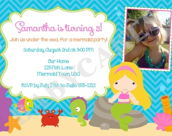 Mermaid Birthday Invitation invite Mermaid Invitation under the sea mermaid party Pool Party Photo picuture digital printable DIY