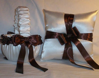 White Satin With Brown Ribbon Trim Flower Girl Basket And Ring Bearer Pillow Set 1