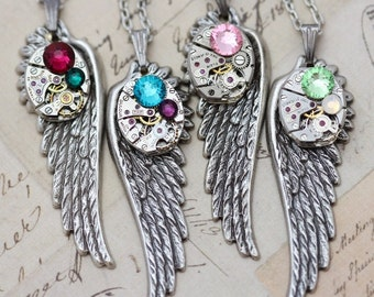 Statement Necklace Steampunk Necklace Personalized Necklace Gift Crystal Necklace Wing Jewelry CUSTOM Birthstone Necklace  Unique Gift 24""