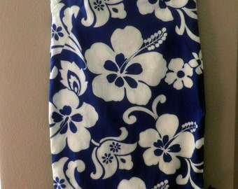 vintage Hookano HAWAIIAN  Maxi dress, blue with White flowers, Made in Hawaii, size XS