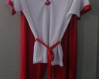 vintage Pajamas, silky Nylon, red & white, Loungewear, Women's small
