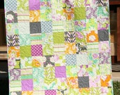 Modern Baby Girl Quilt, Purple Lavender Grey Green Orange, Lottie Da Heather Bailey, Chic Nursery, Unique One of a kind gift, crib cot