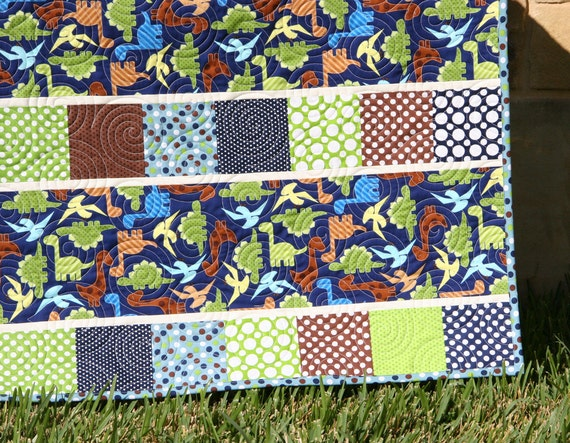 Dinosaur Baby Boy Quilt Blue Green Brown By Sunnysidedesigns2