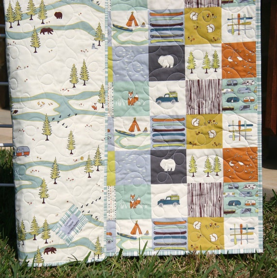 Organic Baby Quilt, Camp Sur Camping Outdoors Hiking Canoeing, Unisex Boy Girl Blanket, Bears Fox Fish, Modern Forest Woodland MADE TO ORDER