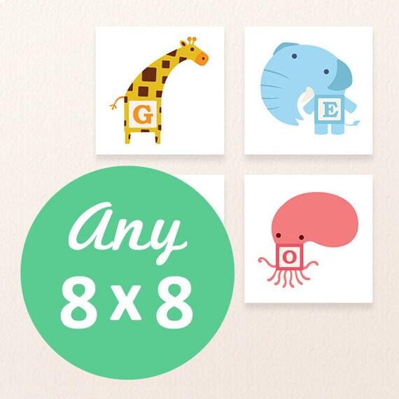 8 x 8 Premium Size | Any Tofufu Character - Home decor, Baby shower, Nursery decor, Kids wall art, kids gift - Tofufu ABC Bamboo Wall Art