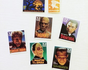 Posts 5 letters - Spooky Halloween Vintage unused postage stamps set perfect for friends and parties!!