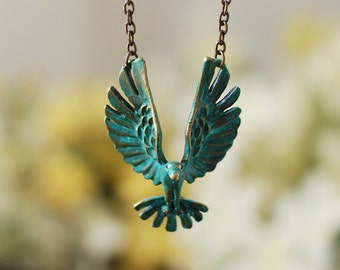 Graduation Gift for her, Soaring Bird Necklace, Hawk Eagle Necklace, Teal Blue Verdigris Patina Bird Necklace, Bird Jewelry