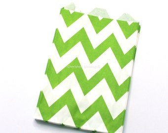 Lime Green Chevron Favor Bags Chevron 12 Lime Green Wedding Candy Buffet Baby Shower Paper Favors Kids Birthday Party Popcorn Candy Bags