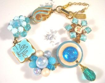 Bridesmaid Gift, Vintage Earring Bracelet, Reclaimed, Cluster, Turquoise, Gold, Dangle, Guilloche, Jennifer Jones, Under 40 - Desert Rose
