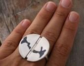 Silver Statement Ring, Istanbul Bosporus Ring, Lapis Ring, Big Round Silver Ring