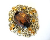 Vintage CZECH Glass Brooch Pendant - Filgree w/ Topaz and Amber Rhinestone