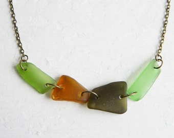 Linked Sea Glass Necklace, Genuine Beach Glass, Shades of Green & Amber, Antique Brass Jewelry
