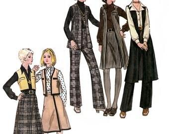Butterick 5986 Vintage 70s Misses' Vest, Pants & Skirt Sewing Pattern - Uncut - Size 14 - Bust 36