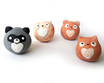 Marble Clay Cute Round Animals - Raccoon / Cat / Bear - Heart belly