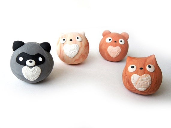 Items similar to Marble Clay Cute Round Animals - Raccoon ...