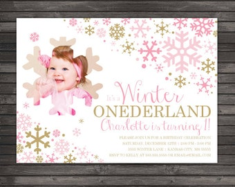 Girl Winter Onederland Birthday Invitation - Girl Winter Wonderland Birthday Invitation - Pink and Gold Winter First Birthday Invitation