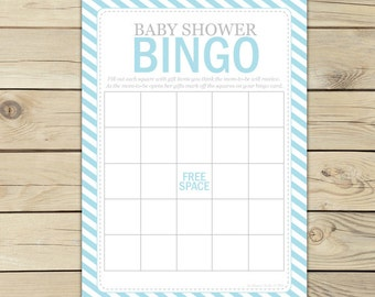 Blue Baby Shower Bingo Game - Printable Game - Light Blue - Instant Download - Blue Baby Shower Bingo Cards - Blue Baby Shower Game