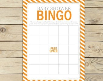 Orange Baby Shower Bingo Game - Baby Bingo Cards Printable - Orange Gray Baby Shower Activity - Instant Download - Orange Baby Shower Games