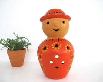 Vintage Ceramic Candle Holder Lego Candleholder Boho Outdoor Lantern Orange Kokeshi