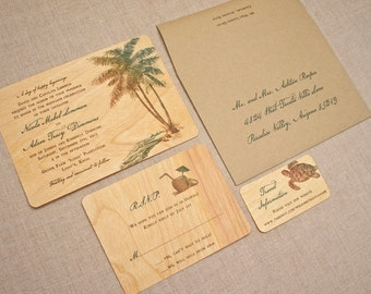 Real Wood Wedding Invitations - Palm Tree Vintage