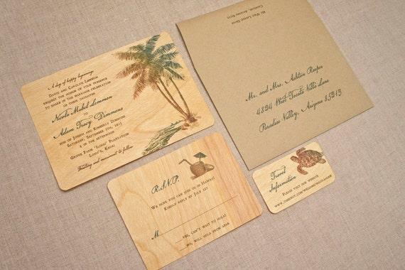 Real Wood Wedding Invitations: Real Wood Wedding Invitations Palm Tree Vintage