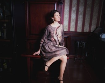 Brown Dress, Oversize Dress, Wide Dress, Long Sleeve Dress, Knee Length Dress, Loose Fitting Dress, Maxi Tunic, Plus Size Tunic
