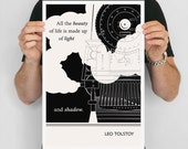 "Literary Art Print, ""Leo Tolstoy "" Large Wall Art Posters, Literary Quote Poster, Illustration, Black and White Art, Literary Gift"