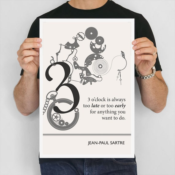 """Literary Art Print, """"Sartre"""" Large Wall Art Posters, Literary Quote Poster, Illustration, Black and White Art, Literary Gift"""
