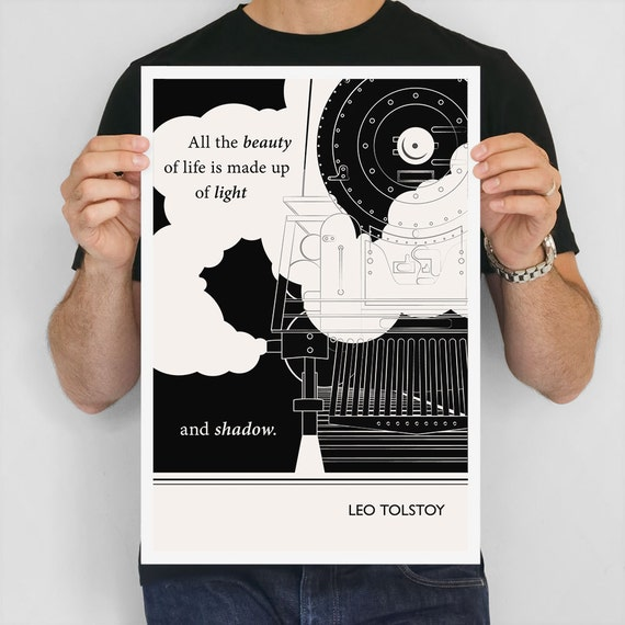 "Large Art Poster, ""Leo Tolstoy"" Quote Literary Art Prints, Minimalist Illustration, Large Wall Art Quote Prints, Literary Gift"