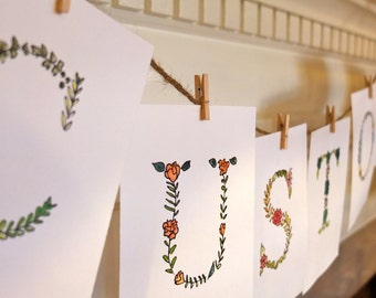 Custom Banners made from Floral Letter Prints on Cardstock