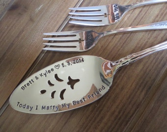 Vintage Wedding, Cake Server, Forks, Marriage Equality, Mr. and Mr., Mrs. and Mrs., Same Sex Marriage, Gay, Equality, Hand Stamped, CUSTOM