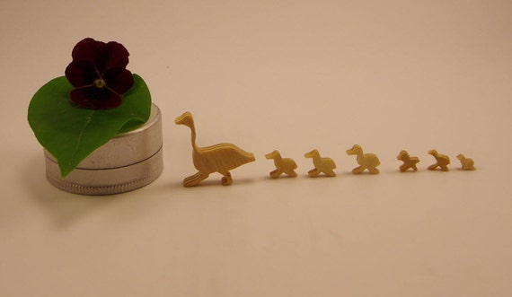 Goose and 6 Goslings Walking  --    handmade, tiny wood (birch) Waldorf animals  / mini totems / sometimes called ducks and ducklings!
