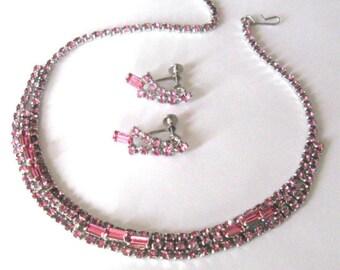 Vintage Raspberry Pink Rhinestone Demi Parure, Necklace Earrings Set, Mid Century Jewelry