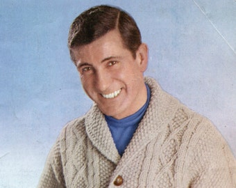 Men's 1960's Cabled Shawl-Collared Cardigan -- PDF KNITTING PATTERN