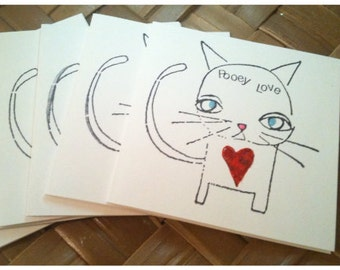Cat Lovers Handmade Small Notecards Pooey Love Red Heart Black Ink Set of 6 with Envelopes