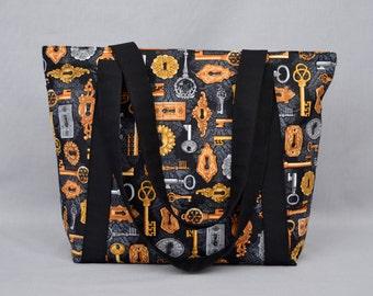 The Agent - Large Shoulder Tote Bag Steampunk Skeleton Keys and Locks Damask