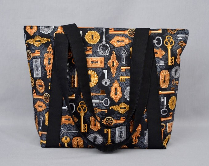 Steampunk Fabric Zippered Tote Bag, Skeleton Keys and Locks Damask Print, Gold Silver Black