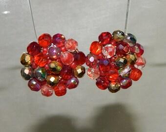 Antique red crystal earrings,Mothers Day earrings,Anniversary gift, red crystal Swarovski earrings,Cocktail earrings,Statement Earrings