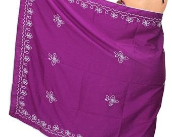 La Leela Chain Stitch Embroidered Swim Pareo Beach Sarong Cover up Wraps Magenta - 119353