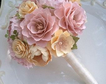 Handmade Paper Flower Bouquet - Paper Flowers - Wedding Bouquet - Toss Bouquet - Pink and Ivory - Custom Made - Any Color