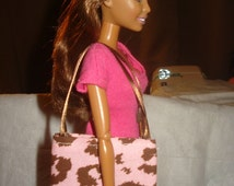 Pink and brown Leopard print fabric tote bag purse for Fashion Dolls - bap14