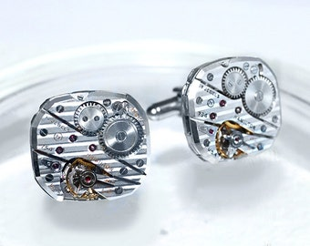 HAMILTON Steampunk Cufflinks - RARE Top Notch Hamilton PINSTRIPE Luxury Vintage Silver Watch Movement Men Steampunk Cufflinks Wedding Gift