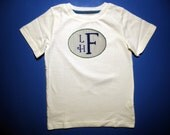 Baby one piece or  toddler tshirt - Embroidery and appliqued Boys monogrammed patch