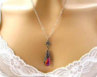 Swarovski Red Crystal Necklace Sterling Silver Orange Purple Red Victorian Necklace Red Bridal Bridesmaids Jewelry Christmas Wedding Jewelry