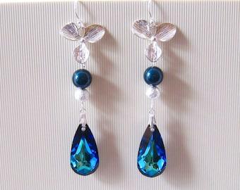Orchid Wedding Earrings, Orchid Earrings Wedding Jewelry, Blue Wedding Jewelry Pearl Crystal Earrings, Sterling Silver Blue Crystal Earrings