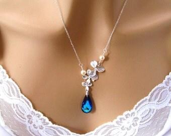 Blue Orchid Wedding Necklace, Swarovski Bridal Jewelry, Pearl Orchid Wedding Accessory, Bridal Necklace, Blue Wedding Jewelry