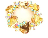 RESERVED for JADEP Vintage Spring Bracelet Juliana D & E  Aurora Borealis Jonquil Triangles