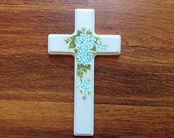 Blue Hydrangeas Wood Cross - Communion - Religious - Crucifix - Hand painted OOAK - Baptism