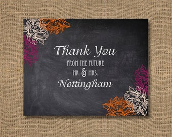 Chalkboard Thank You Card | Wedding Thank You Notes | Thank You Bridal Shower Card | Thank You from the Future Mr and Mrs - Pack of 50