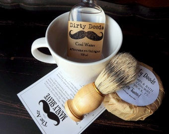 Shaving Mug Set, , Grooming Kit, Boar Brush, Aftershave, Cologne Handmade Soap